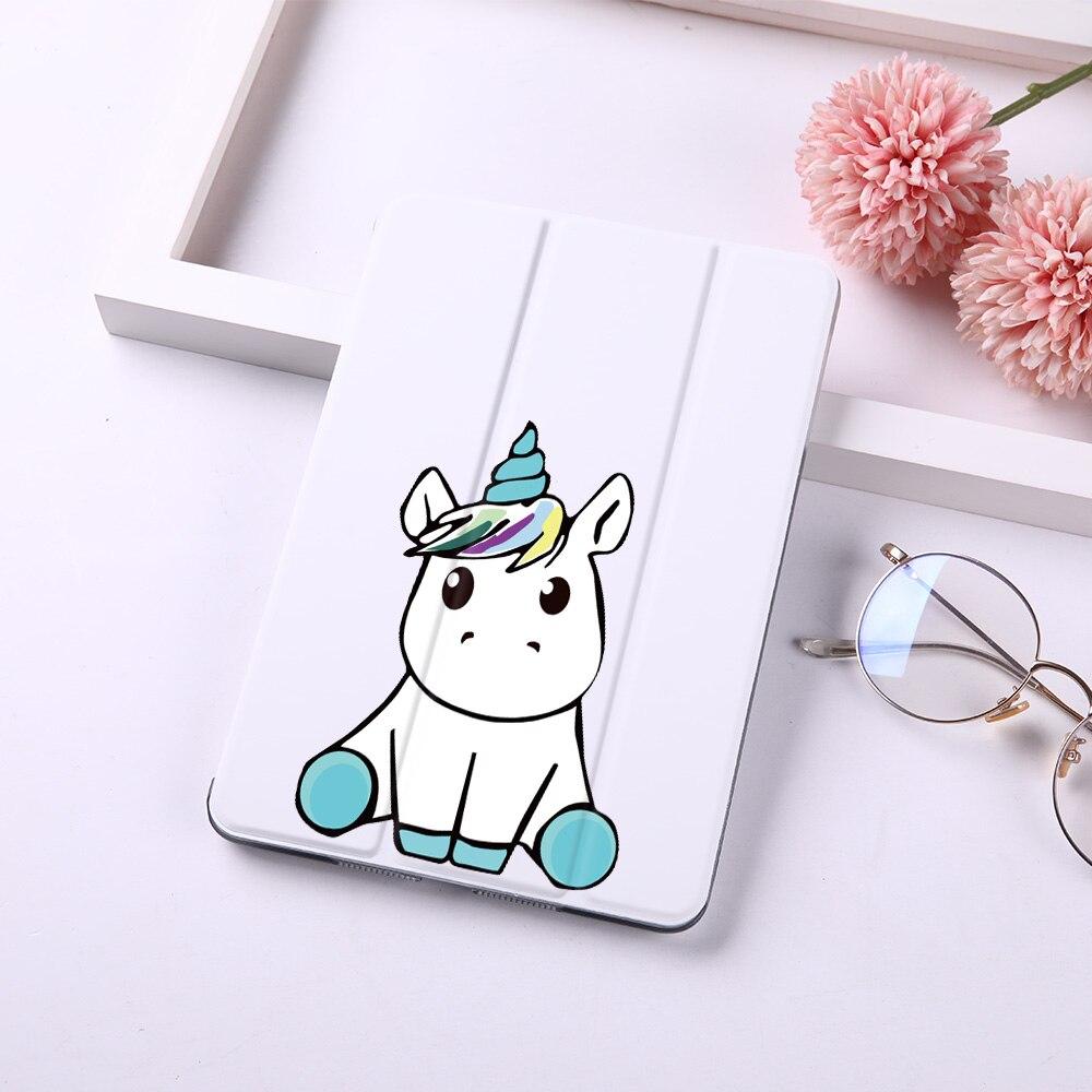 Cartoon Cute Unicorn Magnet Flip Cover For Apple IPad 2018 9.7
