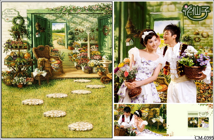Vintage Door Pergola Garden Grass photo backdrop Vinyl cloth High quality Computer printed wedding Backgrounds