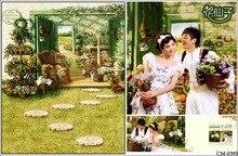 Pérgola Do Jardim da Porta Grama foto do vintage casamento Fundos Computador impresso pano de Vinil pano de fundo pano de Alta qualidade