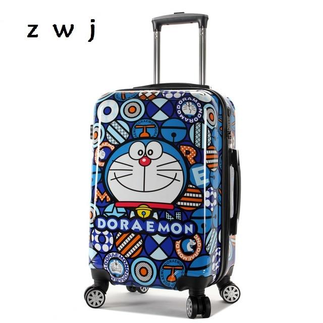 7b4ed9b58638 US $85.0  Doraemon Cartoon Rolling Luggage Bag Kids Suitcase Travel Carry  on Child Cartoon Universal Wheels Trolley luggage-in Rolling Luggage from  ...