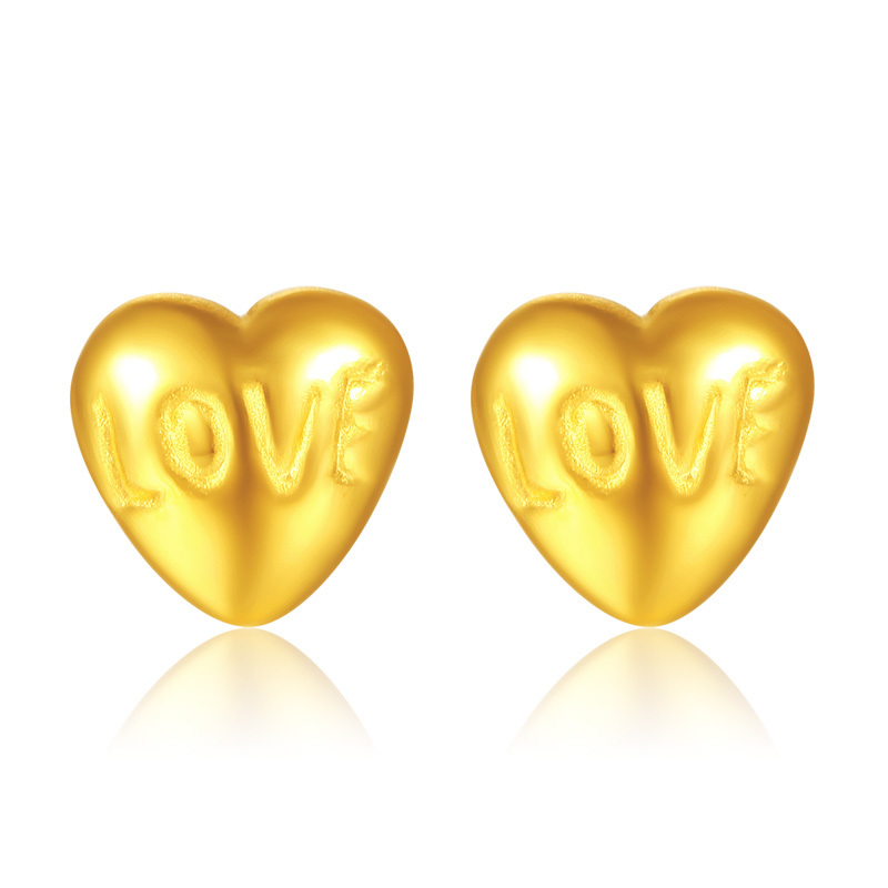 все цены на Solid 24K Yellow Gold Earrings Women Heart LOVE Stud Earrings 1.38g онлайн