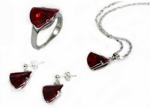 3 สีขายส่งคริสต์มาสของขวัญสีฟ้า/สีแดง/สีชมพูคริสตัลแหวน (#7.8.9) สตั๊ดต่างหูและจี้ชุดเครื่องประดับ