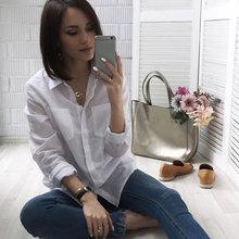 5XL Casual Women Loose Brand Shirt Turn-Down Collar Long Sleeve Pocket White Shirts Mujer Tops Plus Size Camisas Femininas 2017