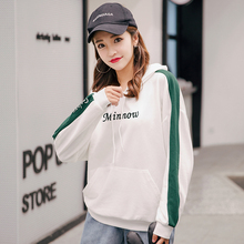 купить 2019 Autumn New Female Hoodies Korean Fashion Casual Letter Print Contrast Color Loose Thin Section Sweatshirt Women Long Sleeve дешево