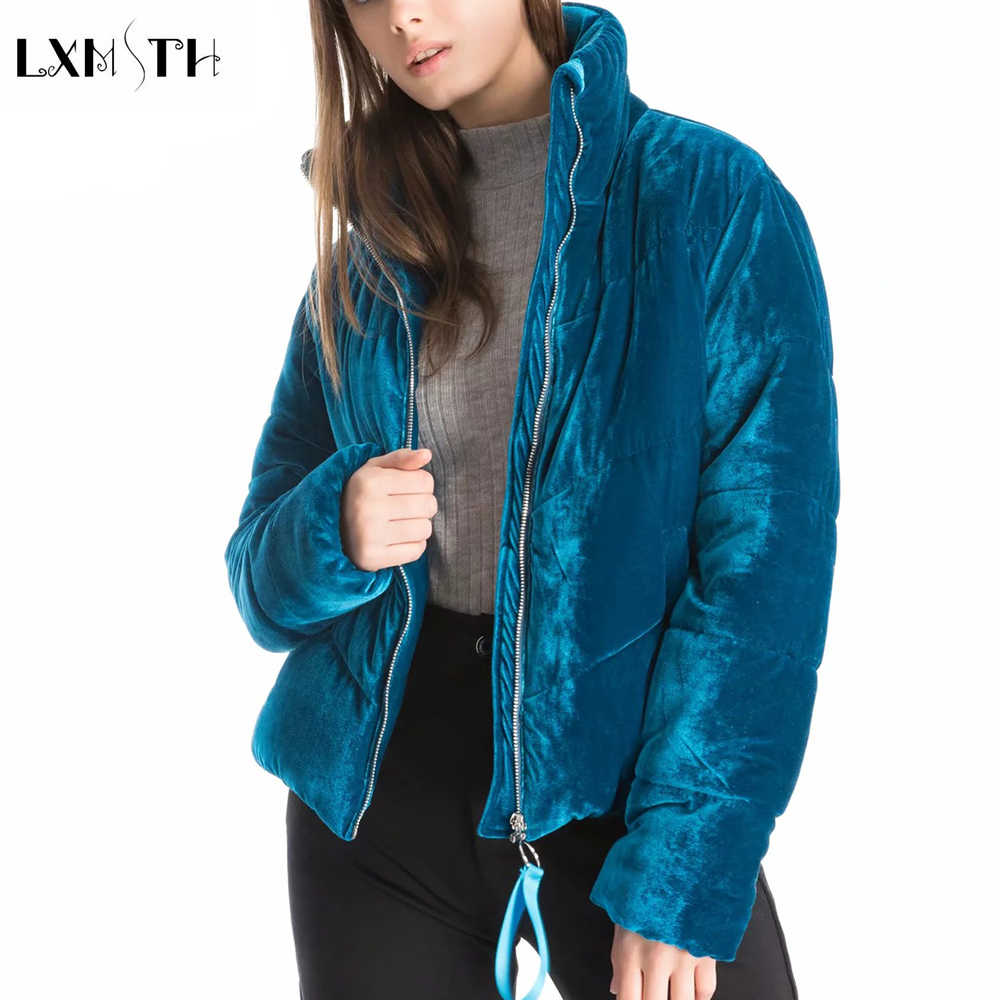 LXMSTH 2019 зима толстые женские бархатная парка Новая мода одноцветное повседневное