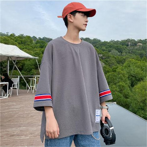 Image 4 - Мужская летняя футболка с коротким рукавом, семиконечная футболка большого размера с коротким рукавом для влюбленных, Корейская версия тенденции сострадания, лето 2019