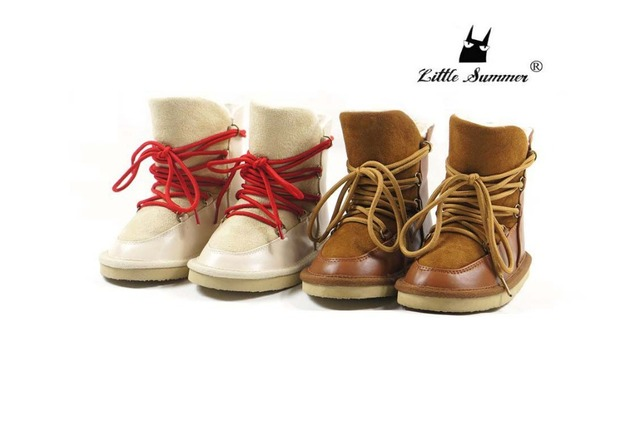 2017 winter warm fur child boots Genuine Leather Baby Moccasins Baby Shoes hard rubber sole Newborn first walker Infant Shoes
