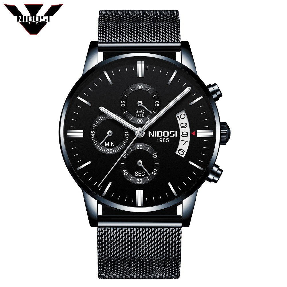 2018 New Coming NIBOSI Men Watches Top Brand Luxury Business Quartz Analog Watch Men Sport Steel Waterproof Wristwatch relojes hombre 2018 nibosi dress brand watch men waterproof men s quartz watch business analog wristwatch stainless steel saat