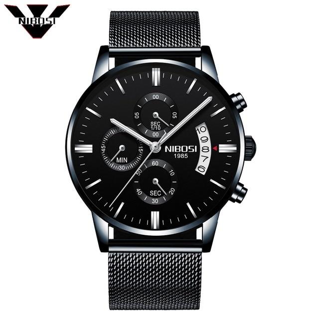 2018 New Coming NIBOSI  Men Watches Top Brand Luxury Business Quartz Analog Watch Men Sport Steel Waterproof Wristwatch