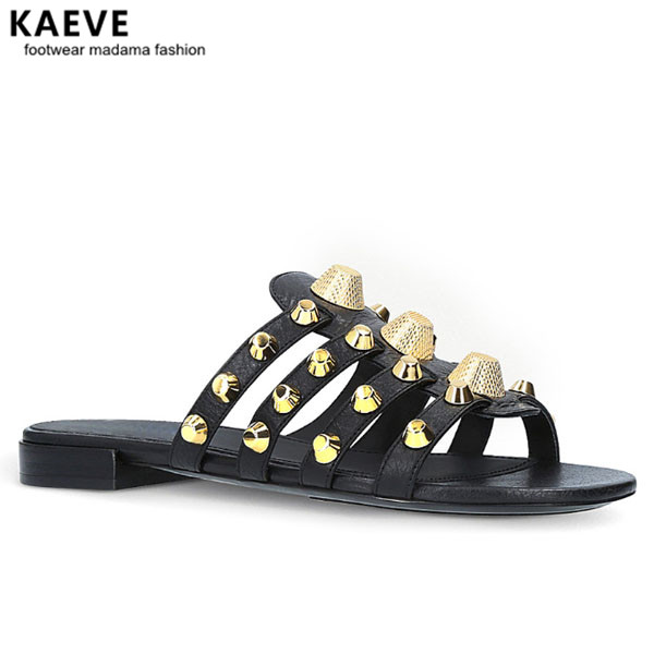 Women Black Giant Studded Sandals Gold Stud Slides Sliver Beach Shoes White Slippers Vacation Flats Mules Large Size Wholesale