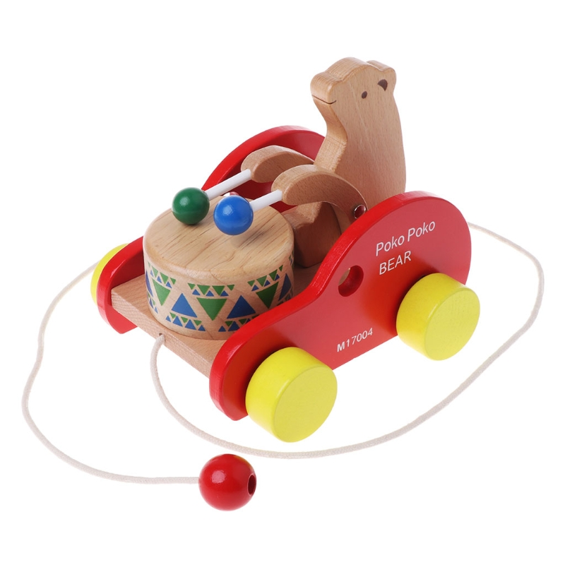 Bear Drum Solid Wood Pull Toys Wooden Pull Along Toy Kids Educational Animal Toy