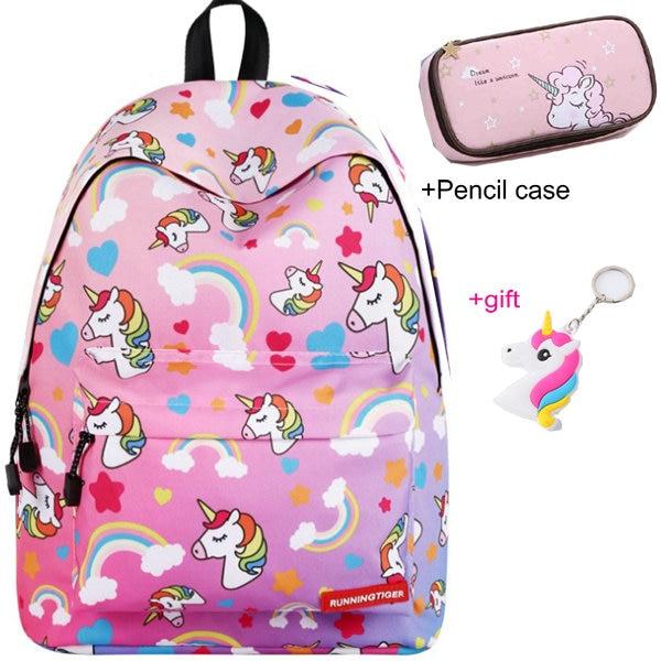 Unicorn 3D Printed Casual School Backpack Women Set 7