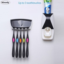 Home Garden - Bathroom Products - Creative Automatic Toothpaste Dispenser Toothbrush Rack Toothpaste Squeezer Kit Holder Organizer Set Device Suction Cup Washing