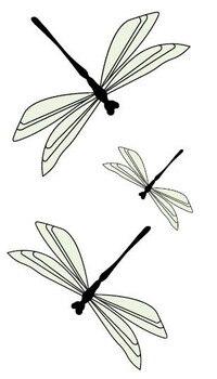 Waterproof Temporary Fake Tattoo Stickers Light Green Dragonfly Design Body Art Make Up Tools line art