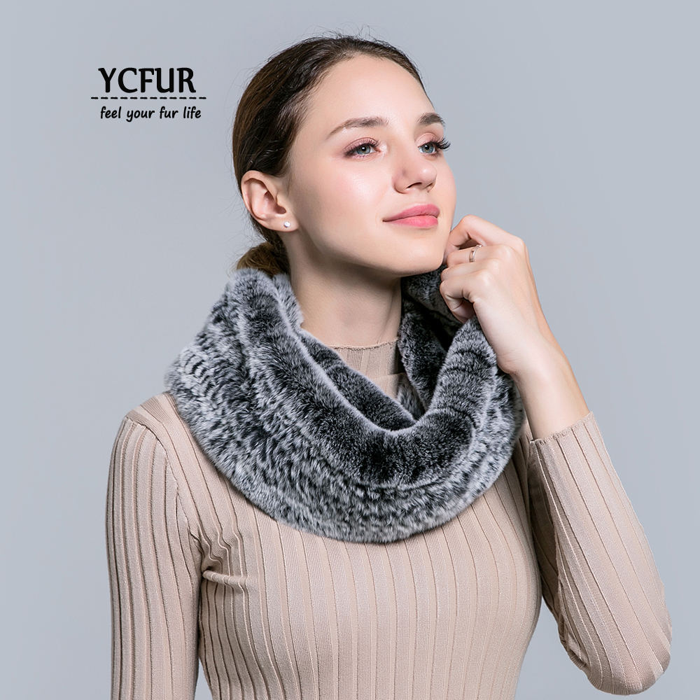 [YCFUR] Classic Style Women   Scarves     Wraps   Winter Knit Rex Rabbit Fur Ring   Scarf   Female Neck Warmer Long Scarfs Ladies
