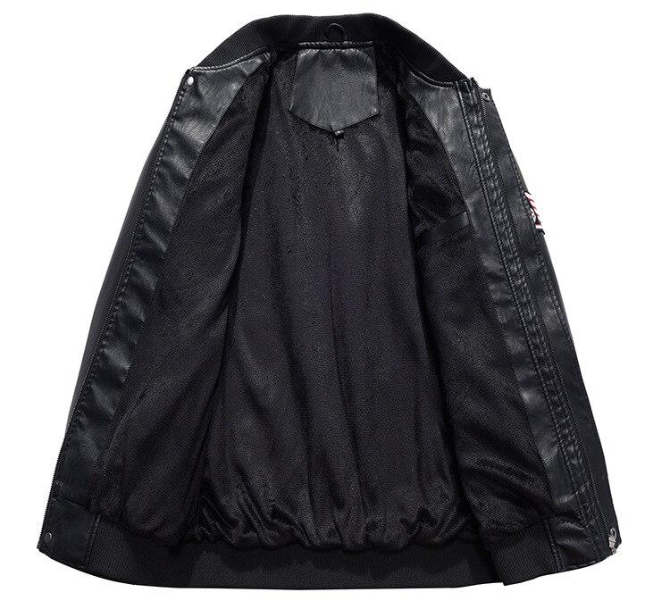 HTB17RXPl5AnBKNjSZFvq6yTKXXaH AFS JEEP Embroidery Baseball Jackets Men Letter Stand Collar Pu Leather Coats Plus Size 4XL Fleece Pilot Leather Jacket hombre