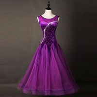 Customized Shinny Diamond Purple Ballroom Dance Dress Women Professional Waltz Foxtrot Dresses Competition Dancing Dress