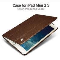 Jisoncase Skórzane Etui Do ipada Mini 2 3 Ultra Cienki Projekt Stoiska składany Folio Luksusowej Marki Smart Cover do ipada mini 1 2 3 przypadku