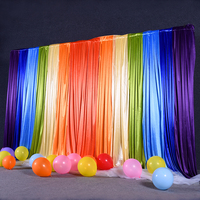 Ice silk rainbow color wedding backdrop curtain drape wedding supplies children birthday background for party event Tied/Piped