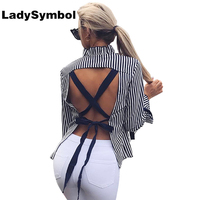 Lady Symbol Autumn 2017 Women Blouse Shirt Bow Long Sleeve Backless Lace Up Casual Blusas Female