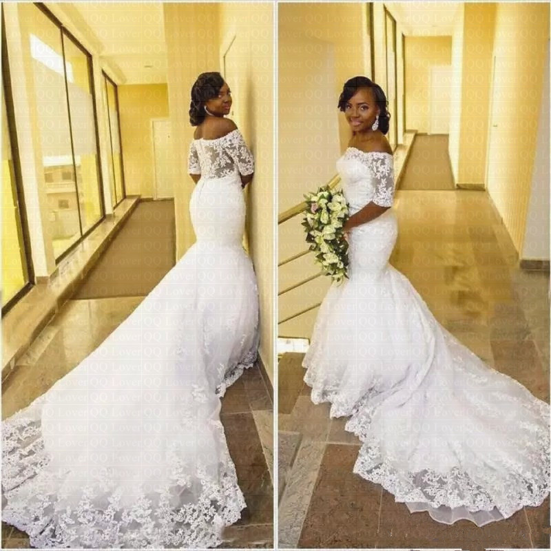 2019 Arabic African Wedding Dresses Off The Shoulder Half Sleeve Wedding Bridal Gowns