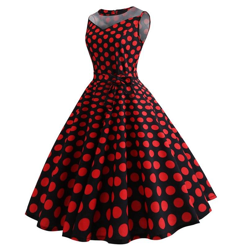 Retro letné párty šaty 1950 s bodkami Swing style (8 variánt) 34