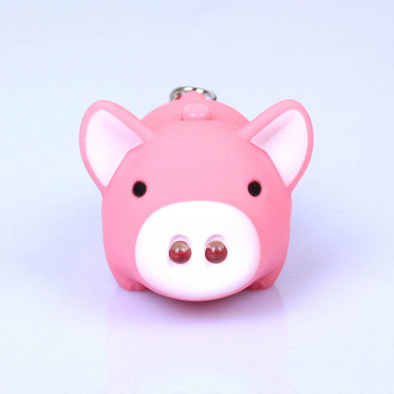 Hot 1PC 3 Colors Funny Pig Led Keychains Flashlight Sound Creative Kids Toys Light Key Rings Gift