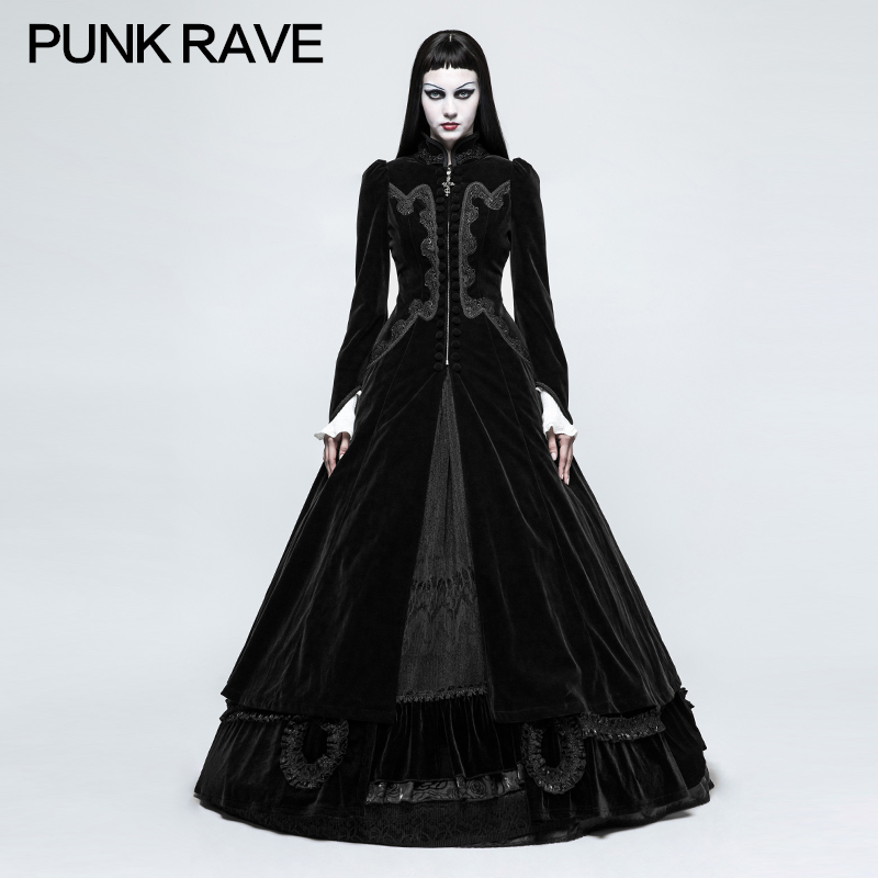 PUNK RAVE Women Novelty Gothic Palace Swallow Tail Long Dress Jacket Slim and elegant style big waves swallow tail Dress