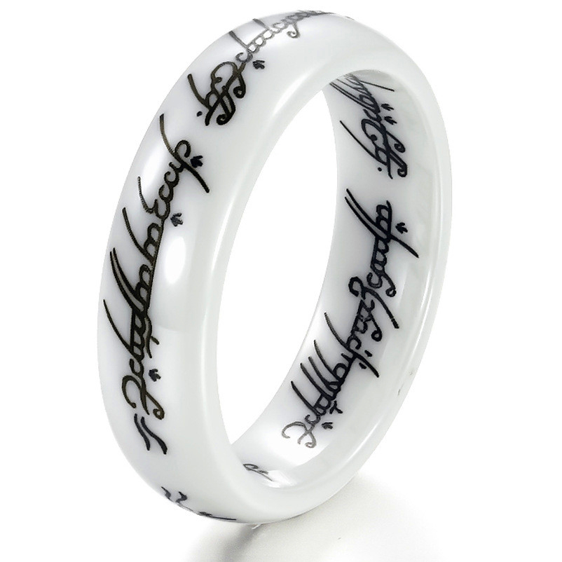 White Ceramic Lettering Lotr Ring