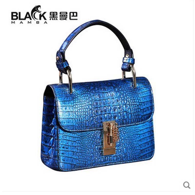 heimanba Crocodile skin bag female piglet to wipe blue Thai leather handbag crocodile leather handbag