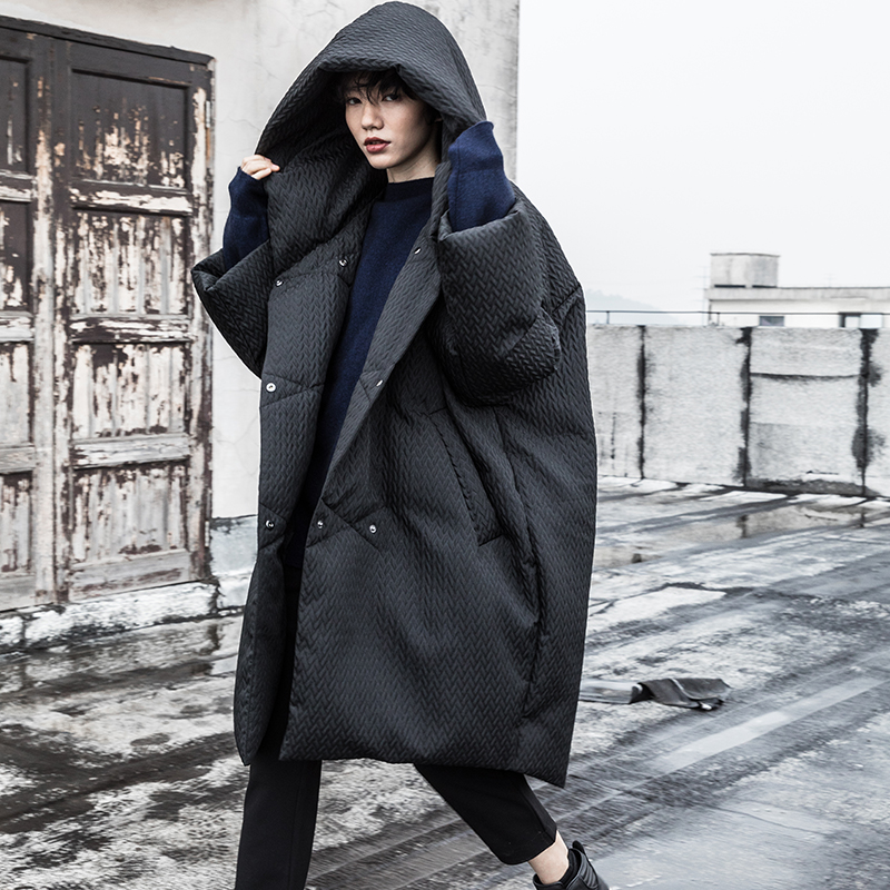 2018 Winter New Collection oversized long hooded dobby white duck   down   jacket women   coat