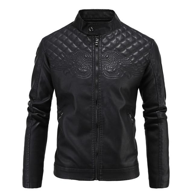 PU Leather Winter Jacket Men Printed Mandarin Collar Plus Size Slim Moto Jackets Mens Shearling Coats Chaqueta Moto Cuero 4XL