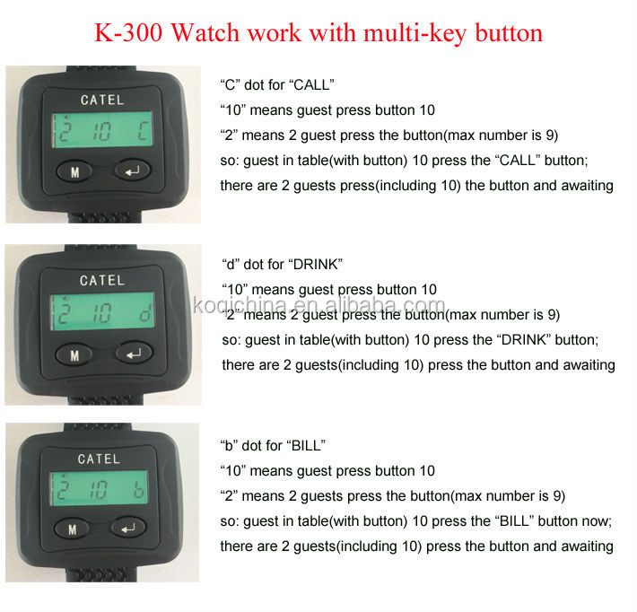 US $430 5 |Wireless Digital Waiter Call System for restaurant China  supplier strong signal (1 display +4 watch pager +40 bell button)-in Pagers  from