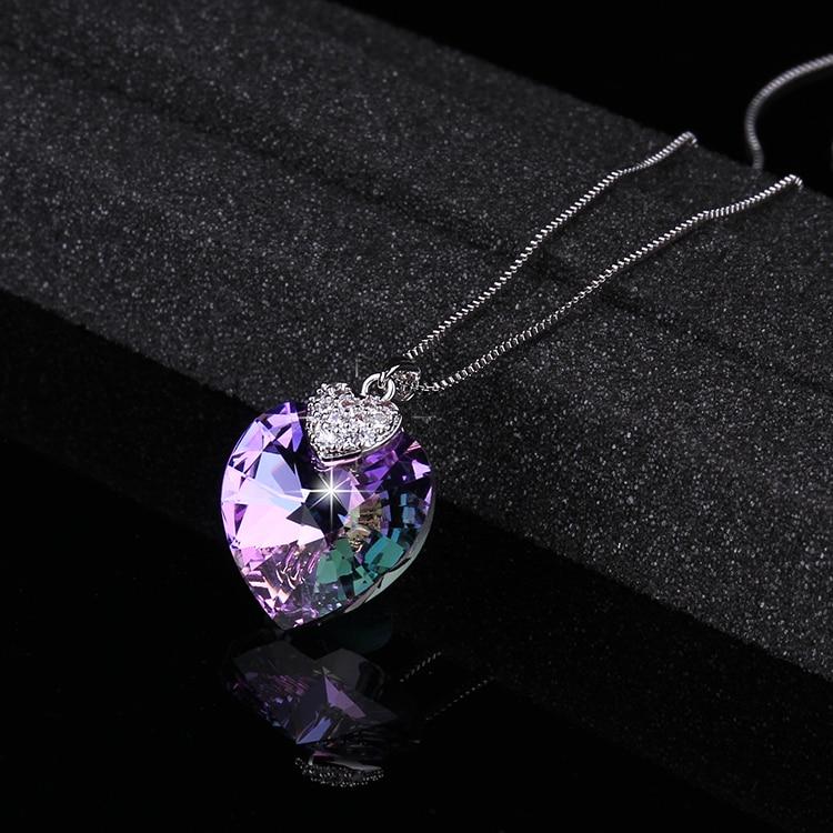 HTB17RXzrVmWBuNjSspdq6zugXXa8 Swarovski Crystal Necklace Heart Shape Amethyst Crystal Pendant Necklace Fashion Jewelry Choker Necklace Gift for Lady Collares