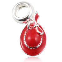 Fits For European DIY Charm Bracelet Bow Hat With Red Enamel Pendant Beads 925 Sterling Silver