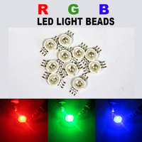 100pcs RGB LED COB Chip High Power LED Bulb Diodes Lamp Red Green Blue Light Beads SMD Round 3W watts DIY