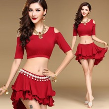 2017 Sexy Female Belly Dance Costumes Include 2pcs/4pcs Tops/Skirt/Waist Chain For Adult Practice Dancing Woman Beauty Clothes