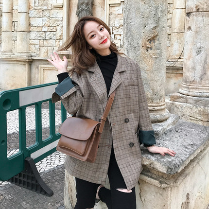 Image 4 - Vintage Double Breasted Office Ladies Plaid Blazer Long Sleeve Loose  Retro Suits Coat Jacket Women blazers Female 2019-in Blazers from Women's Clothing
