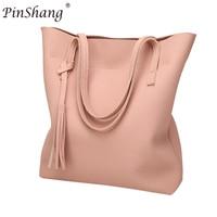 PinShang Fashion Single Shoulder Bag Women S Soft Leather Work Tote Large Capacity Tassel Handbags Deluxe