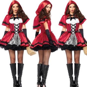 Alta calidad Sexy Cardinal Little Red Riding Hood disfraz pequeño rojo Cap Sexy disfraces de Halloween para mujeres cosplay vestido de fiesta