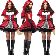 high quality Sexy Cardinal Little Red Riding Hood Costume Small Red Cap Sexy Halloween Costumes for Women cosplay Party Dress