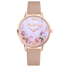 Fashion Women Watches Flower Pattern Quartz Leather Band Watch