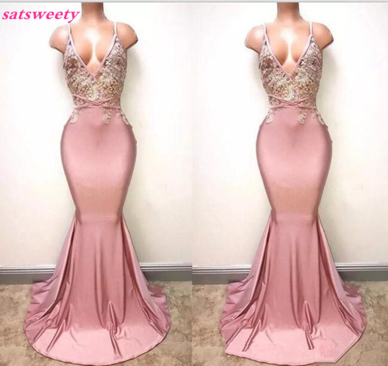 Dusty Pink Spaghetti Straps Mermaid Prom   Dresses   Deep V Neck Sexy Backless Lace Sequins Beaded Long Formal   Bridesmaid     Dresses