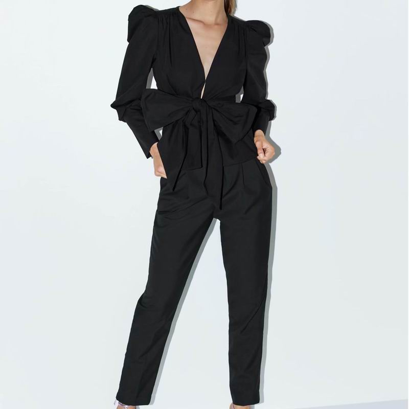 Women Blazer And Pant 2019 New Fashion Puff Sleeve Zipper Fly Black Color Outwear Bottom Office Lady Suit Women Sets