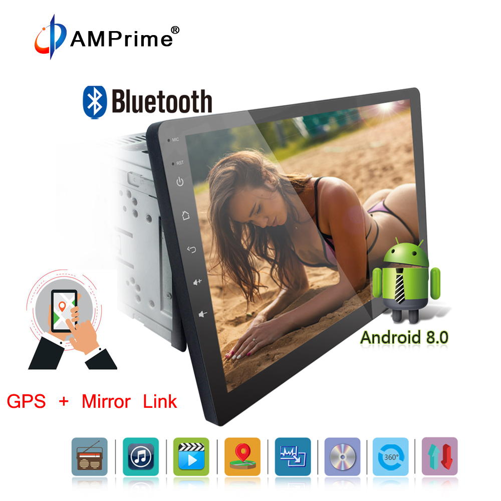 AMPrime Autoradio 10 inch Android 8.0 Universal Car Radio Double DVD CD GPS Navigation In Dash PC Stereo Video Wifi Support 3G