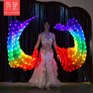 Image 2 - 2019 New Belly Dance LED lights Silk Fan Veils colorful Rainbow Stage Performance Props LED Fan Veil for Oriental Dancing Fans