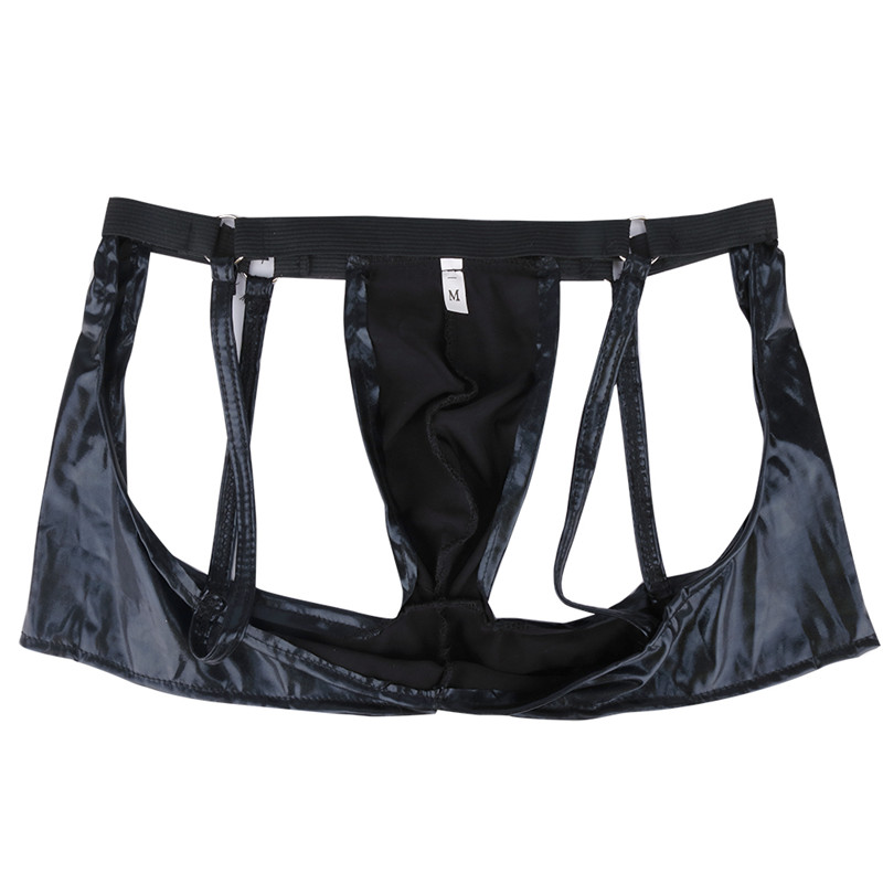 Mens Lingerie Trunks Boxer Patent Leather Shorts Men Boxer Gay Strappy Open Butt Boxer Underwear Men Gay Pouch Panties Jockstrap Boxers Back To Search Resultsunderwear & Sleepwears
