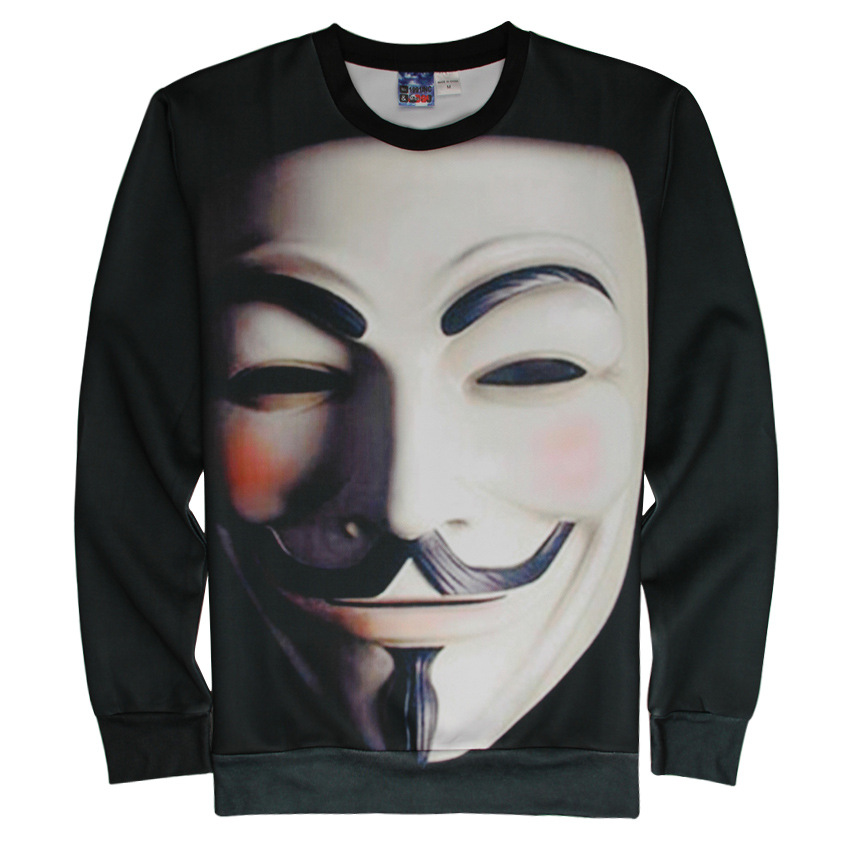 Unisex Vendetta Anonymous Guy Fawkes NEW V Mask 3D Printing Long-Sleeve Roud-Neck Hoodies Women Men Casual Lover Couple Top