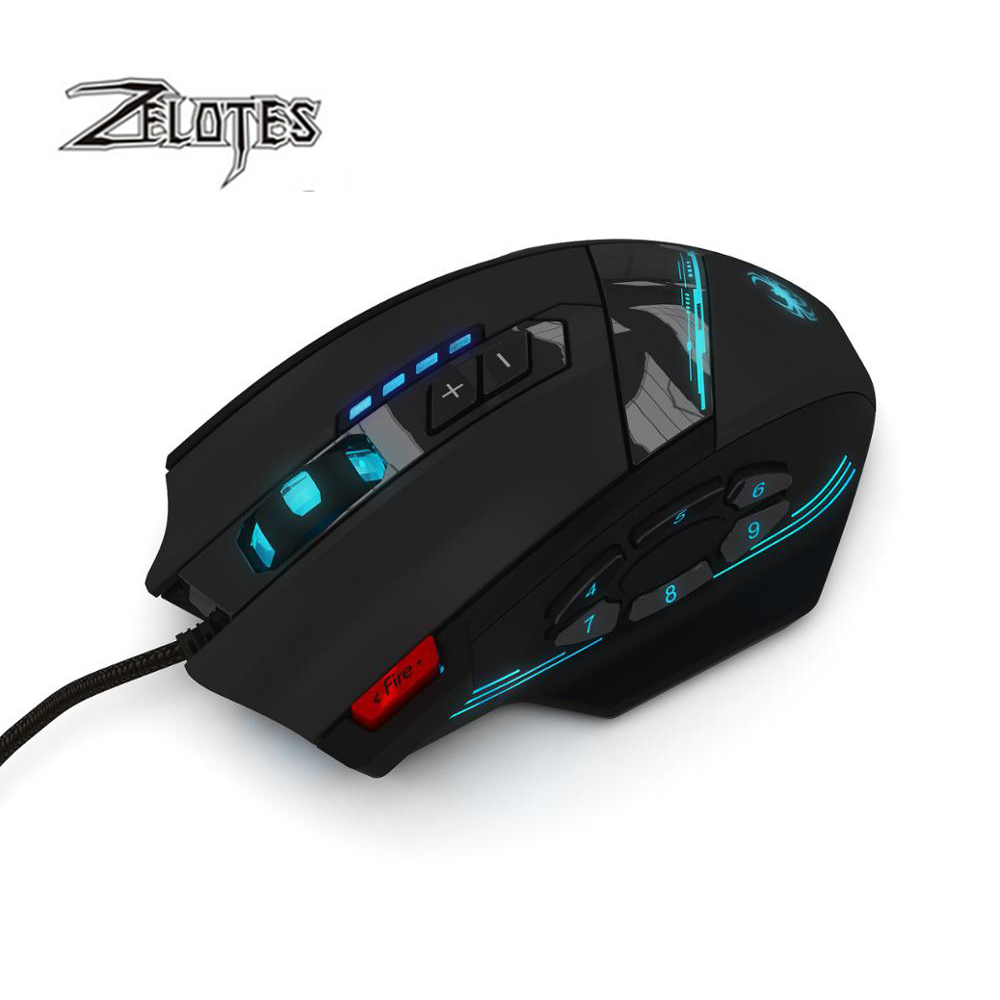 Image 2 - ZELOTES C 12 Wired USB 4000 DPI A Optical Gaming Mouse 12 Programmable Buttons Computer Game Mice 4 Adjustable DPI 7 LED Lights-in Mice from Computer & Office