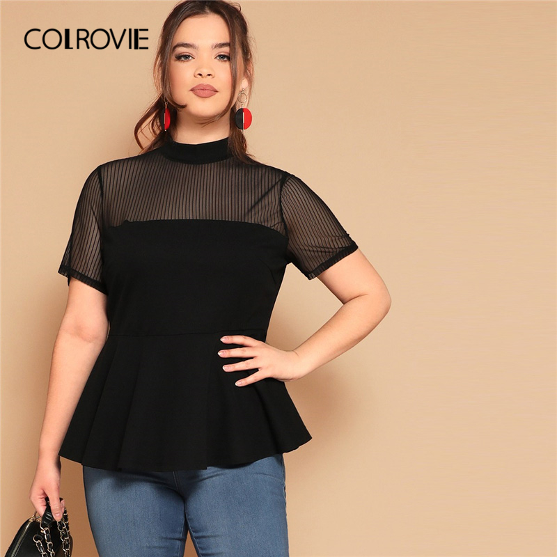 COLROVIE Plus Size Black Stand Collar Striped Mesh Yoke Elegant Peplum Top   Blouse     Shirt   Women 2019 Short Sleeve Office   Blouses